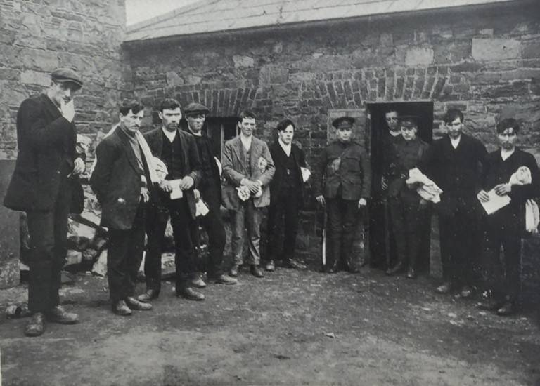 Rebels interned in Richmond Barracks after the Rising.