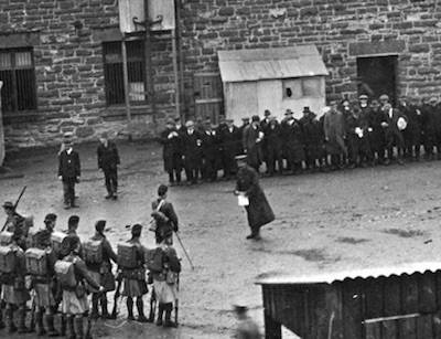 Irish prisoners on parade at Frongoch, 1916.